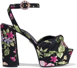 Dolce & Gabbana Knotted Metallic Brocade Platform Sandals