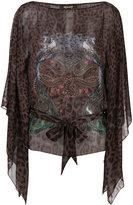 Roberto Cavalli printed sheer blouse with tie waist