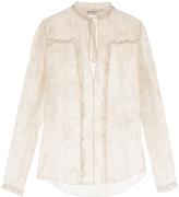 Balenciaga Tie-neck satin-devoré blouse