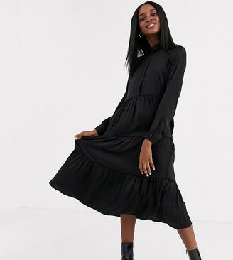 JDY tiered maxi shirt dress in black