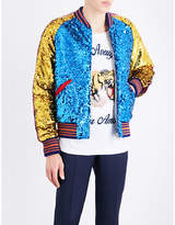 Gucci Striped-trim Sequinned Bomber Jacket