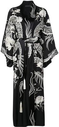 Josie Natori Couture Embroidered Dragon Robe Dress