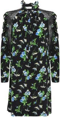 Sandro Pussy-bow Lace-trimmed Silk Crepe De Chine Mini Dress
