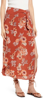Free People Sunray Floral Print Faux Wrap Skirt