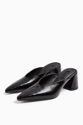 Topshop Womens Jerico Chisel Black Mules - Black