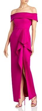 Aqua Off-the-Shoulder Cascade Gown - 100% Exclusive