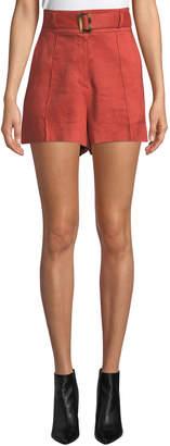 Veronica Beard Makayla Belted High-Rise Linen Shorts