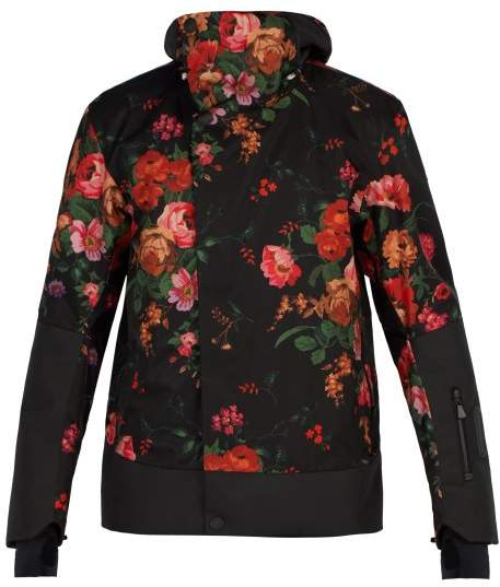 Moncler 3 Floral Print Ski Jacket - Mens - Black Multi