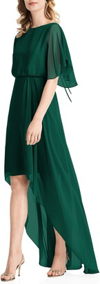 Jenny Packham Flutter Sleeve High/Low Chiffon Gown