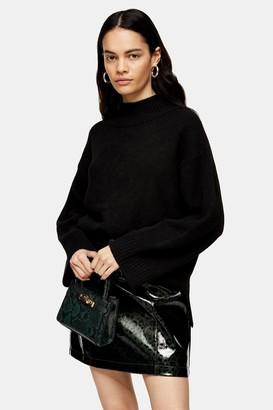 Topshop Womens Black Central Seam Knitted Jumper - Black
