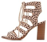 Charlotte Russe Leopard Caged Lace-Up Sandals