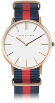 Sean Statham Rose Goldtone Stainless Steel Unisex Quartz Watch w/Light Blue and Pink Striped Canvas Band