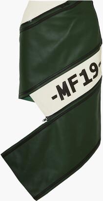 Monse Asymmetric Zip-detailed Paneled Leather Skirt