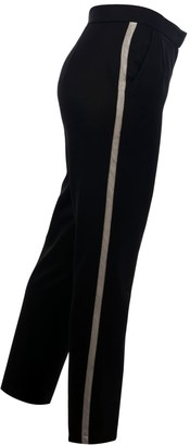 Muza Black Wool Trousers With Side Stripes