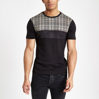 River Island Black check muscle fit T-shirt