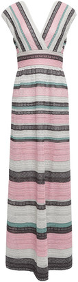 M Missoni Striped Metallic Crochet-knit Maxi Dress