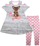 Gray Heather Puppy Cutout Dress & White Dot Leggings - Girls