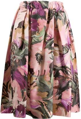 Comme des Garcons Floral Print Full Midi Skirt