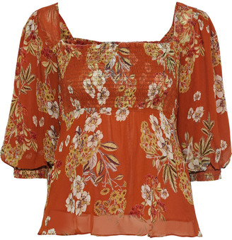 Nicholas Shirred Floral-print Silk-georgette Blouse