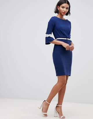 Paper Dolls sleeve lace detail pleat dress with belt-Navy