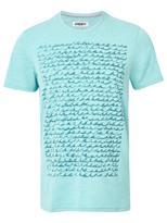 Jeanswest Doyle Short Sleeve Print Crew Tee-Teal Marle-S