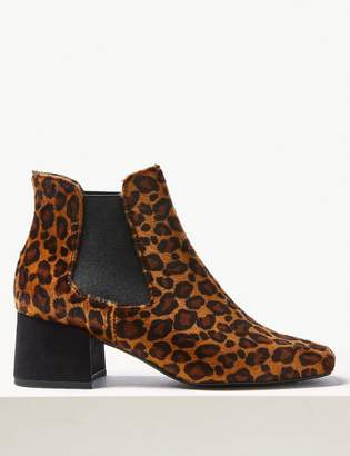 Marks and Spencer Animal Print Square Toe Chelsea Ankle Boots