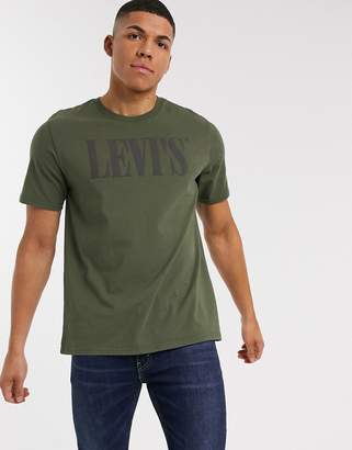 Levi's relaxed fit 90's serif logo t-shirt in olive night-Green