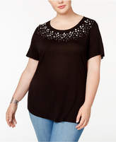 INC International Concepts Plus Size Jeweled T-Shirt, Created for Macy's