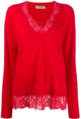 Twin-Set lace trim sweater