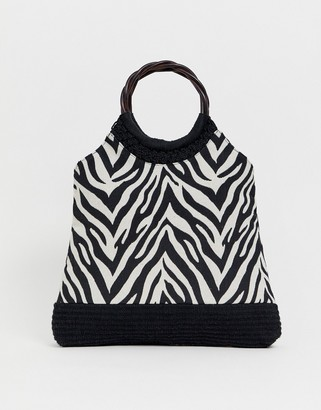Accessorize zebra print straw bag with interest handle-Multi