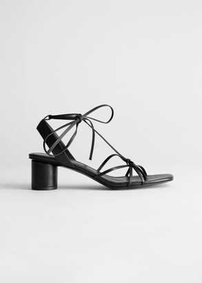 And other stories Square Toe Leather Strappy Heeled Sandals