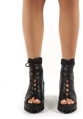 Public Desire Uk Bassline PU Chunky Heeled Peeptoe Ankle Boots