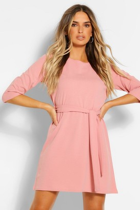 boohoo 3/4 Sleeve Belted Shift Dress