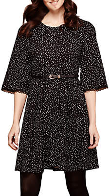 Yumi Polka Dot Pleated Dress, Black/White