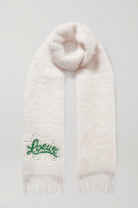 Loewe Bead-embellished Mohair-blend Scarf - Off-white