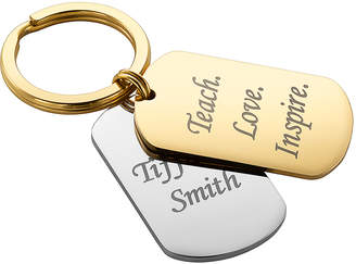 Limoges Jewelry Key Chains TWOTONE - Goldtone & Silvertone Personalized Script Round Key Ring