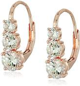 Anne Klein Rose Gold-Tone Cubic Zirconia Linear Drop Earrings