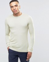 Asos Muscle Fit Crew Neck Sweater in Pale Green Cotton