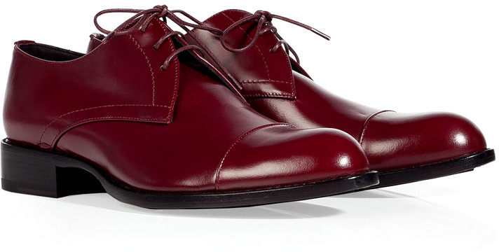 Jil Sander Burgundy Glazed Leather Shoes