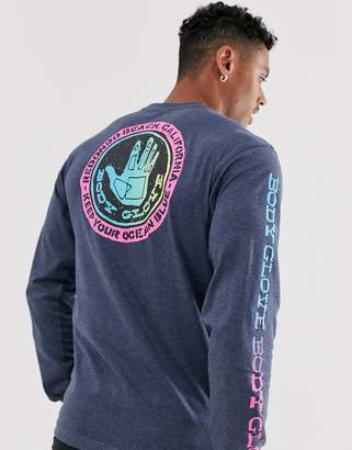Body Glove Freehand long sleeve t-shirt with arm and back print in navy
