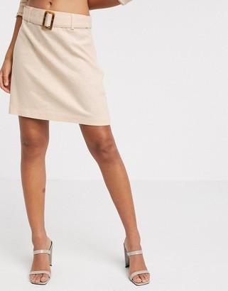 Vero Moda linen mini skirt with tortoise belt in peach