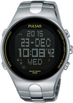 Pulsar Mens Stainless Steel Black Chronograph Digital Watch