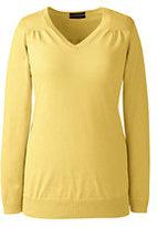 Classic Women's Plus Size Supima Shirred V-neck Tunic Sweater-Warm Beige Heather