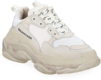 Balenciaga Triple S Air Nylon Sneakers with Logo, Blanc