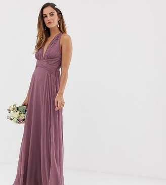 Asos Design DESIGN Bridesmaid ruched bodice drape maxi dress with wrap waist-Pink