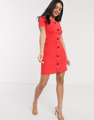 Morgan knitted button through skater dress in coral