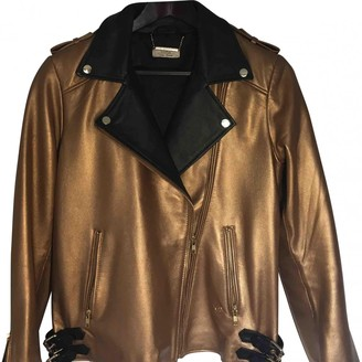 N. \n Gold Leather Leather Jacket for Women