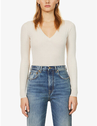Eleventy V-neck wool and silk-blend jumper