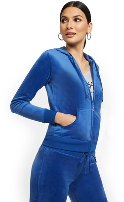 New York & Co. Hooded Velour Zip-Front Jacket - Dreamy Velour Collection