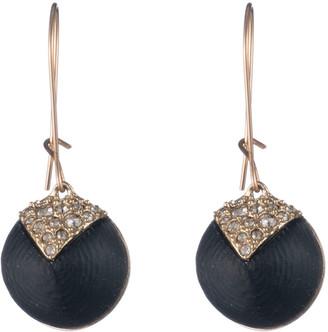 Alexis Bittar Crystal Encrusted Origami Inlay Dangling Sphere Kidney Wire Earrings